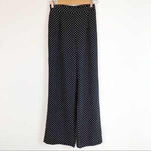 high waisted wide leg polka dot pull on pants